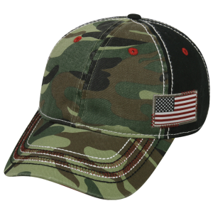 Camo Cap with Flag Woven Label on Side
